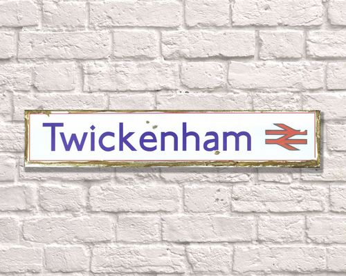 Twickenham Rusty Metal Sign 15cm x 79cm